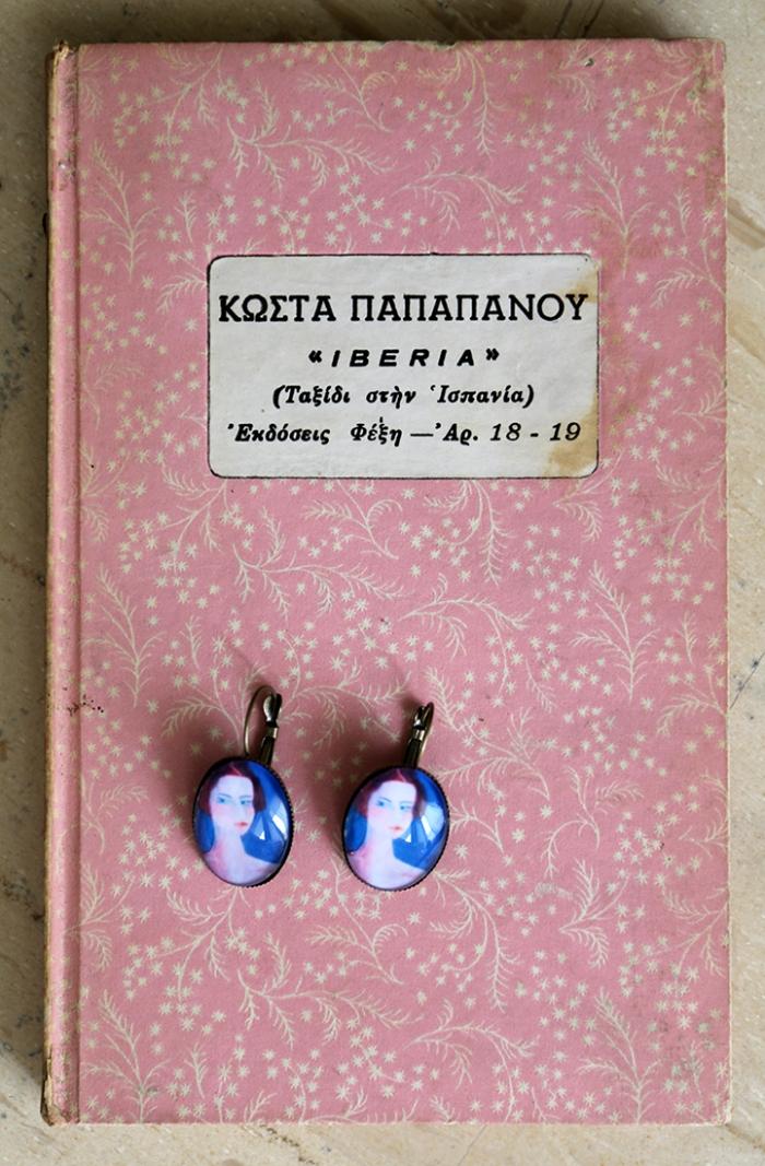 Miniature portrait earrings
