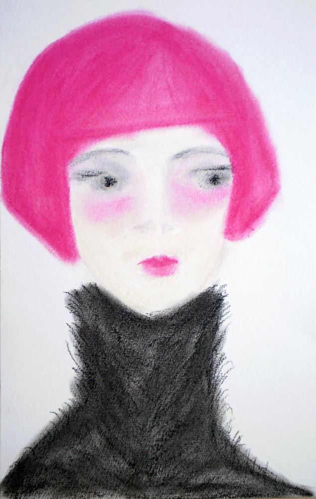 Woman, dry pastels