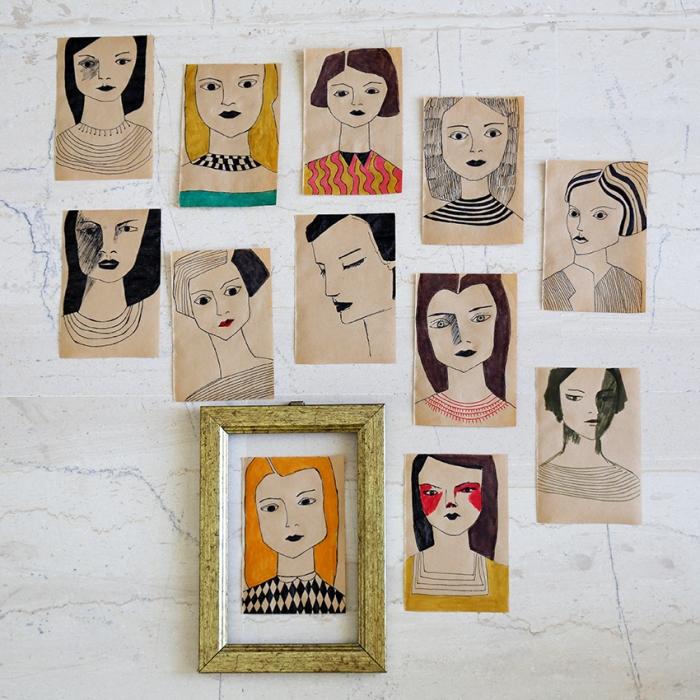 portraits on cheap paper