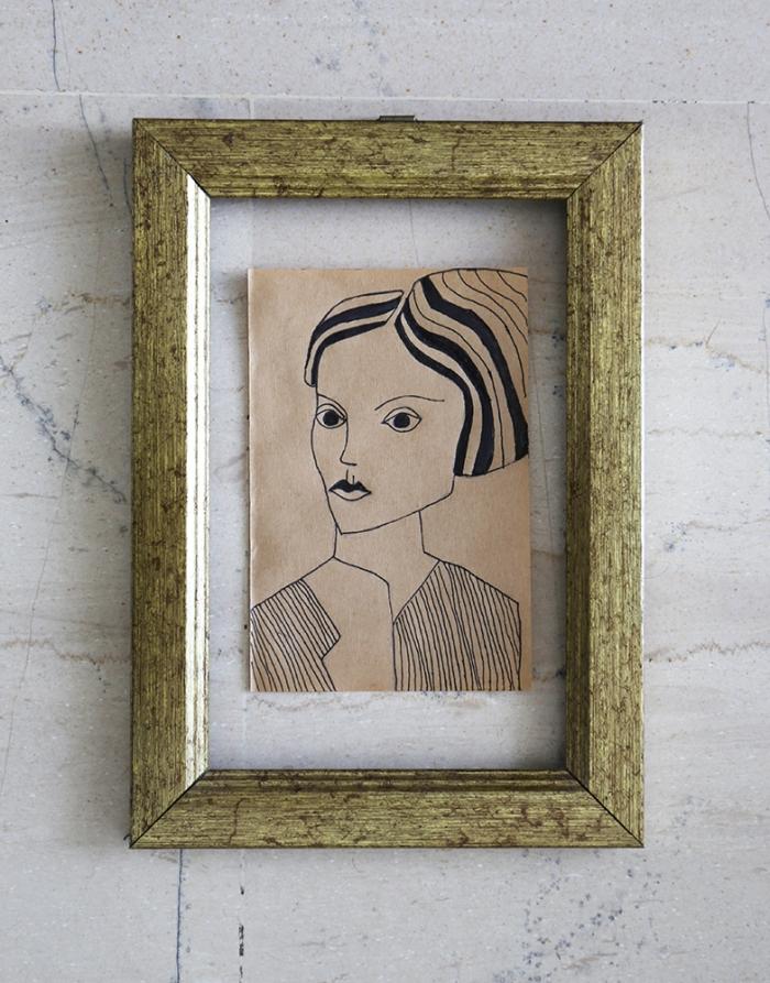 portrait on cheap paper